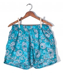 sideout patterned swim trunks.