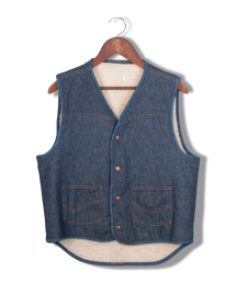 montgomery ward shearling denim vest.