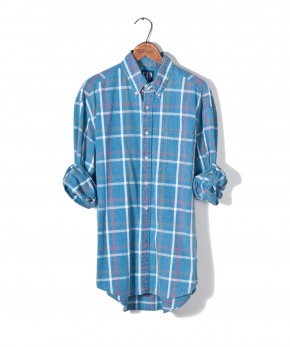 gap plaid chambray shirt.