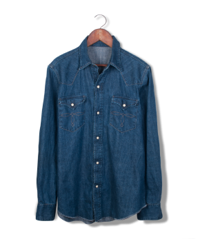 rrl denim snap shirt.