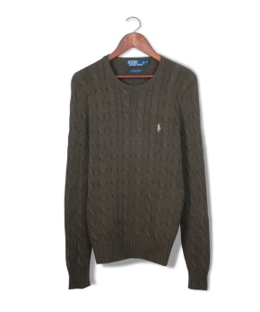 polo pima cotton cableknit sweater.